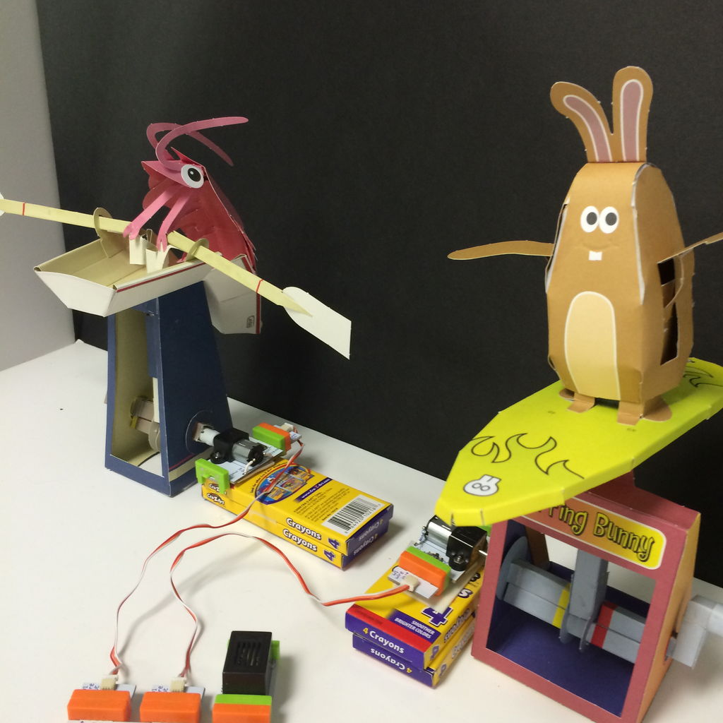 Papercraft Automata Race Game littleBits Circuit using Arduino