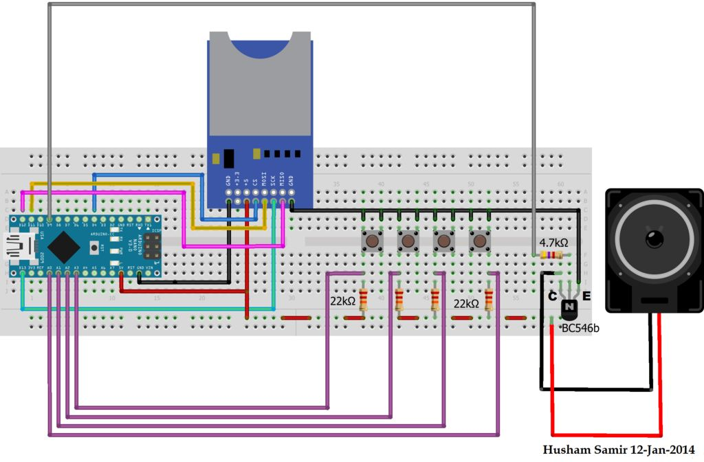 Playing Wave file using arduino circuit