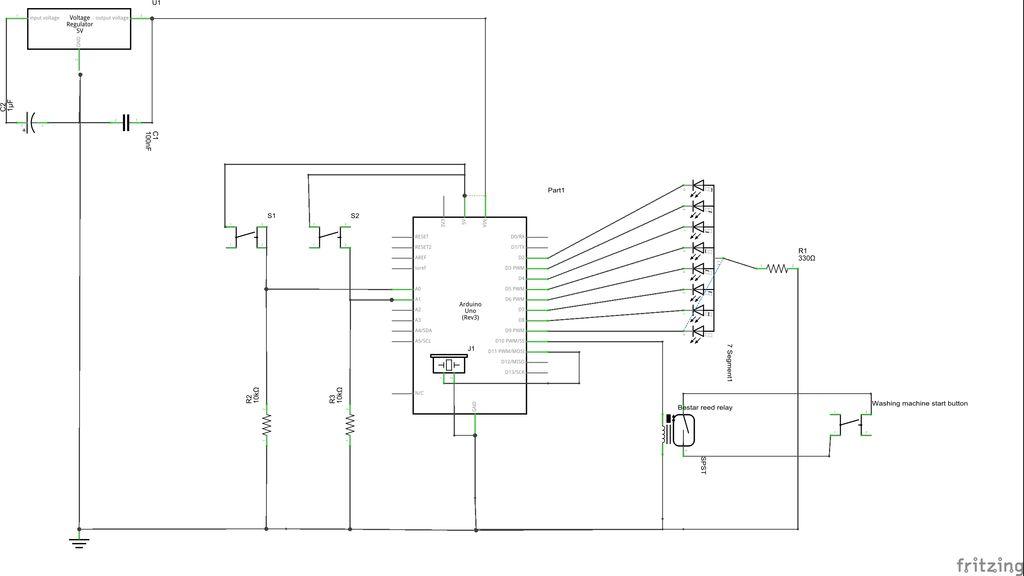 Washing machine countdown timer using Arduino schematic