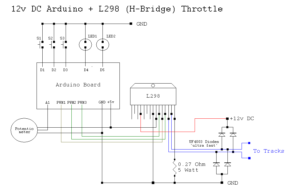 Controlling your trains with an Arduino schematic