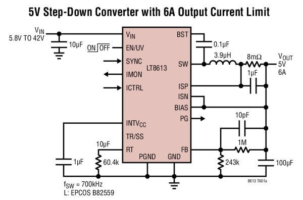 LT8613 – 42V, 6A Synchronous Step-Down Regulator with Current Sense