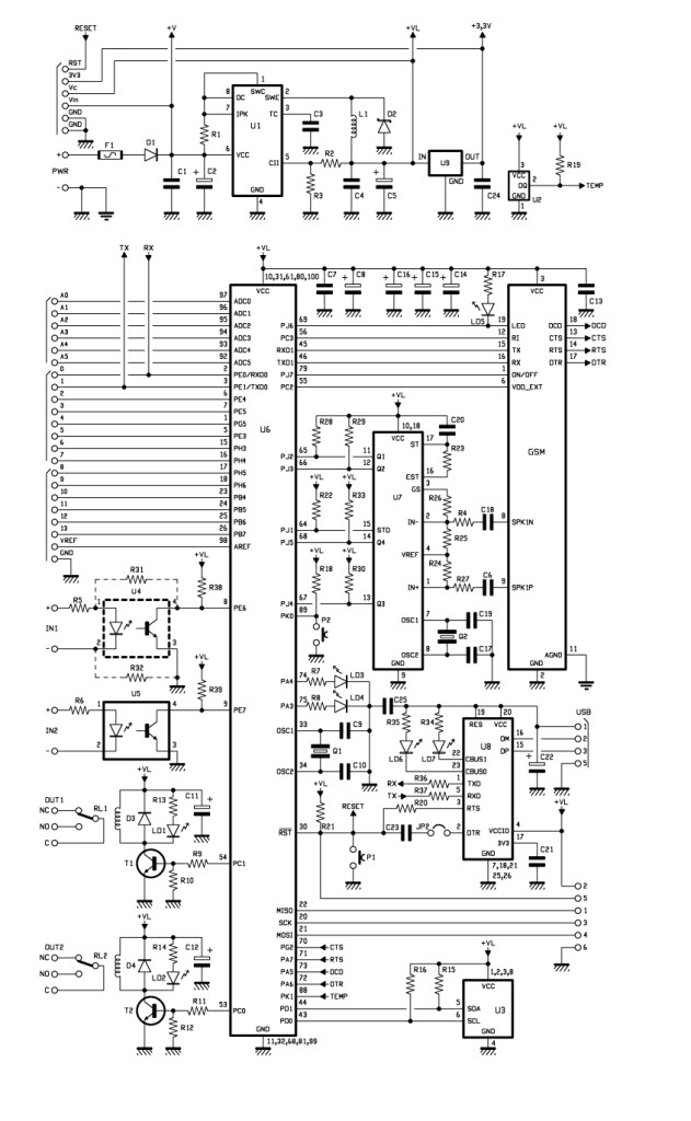 TiDiGino, the Arduino-based GSM remote control schematic