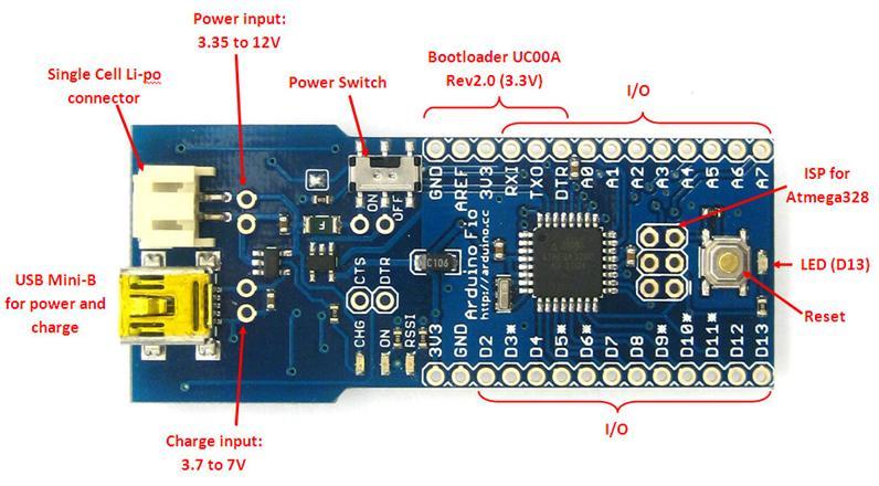 Arduino FIO Tutorial circuit