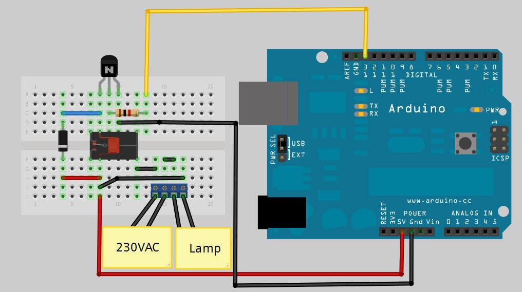 Arduino Internet Controlled Desk Lamp circuit
