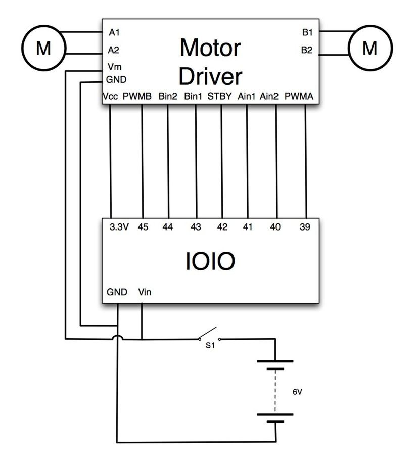 Hack Your Hasbro R2D2 With an IOIO Microcontroller schematic
