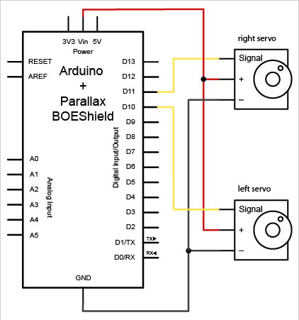 How to connect a servo to the Arduino schematic