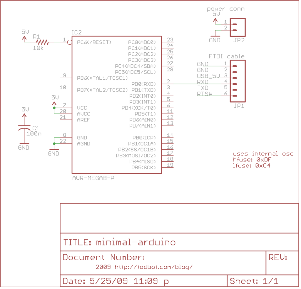 Minimal Arduino with ATmega8 schematic