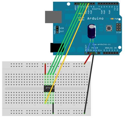 Programming an ATtiny w/ Arduino 1.0 circuit