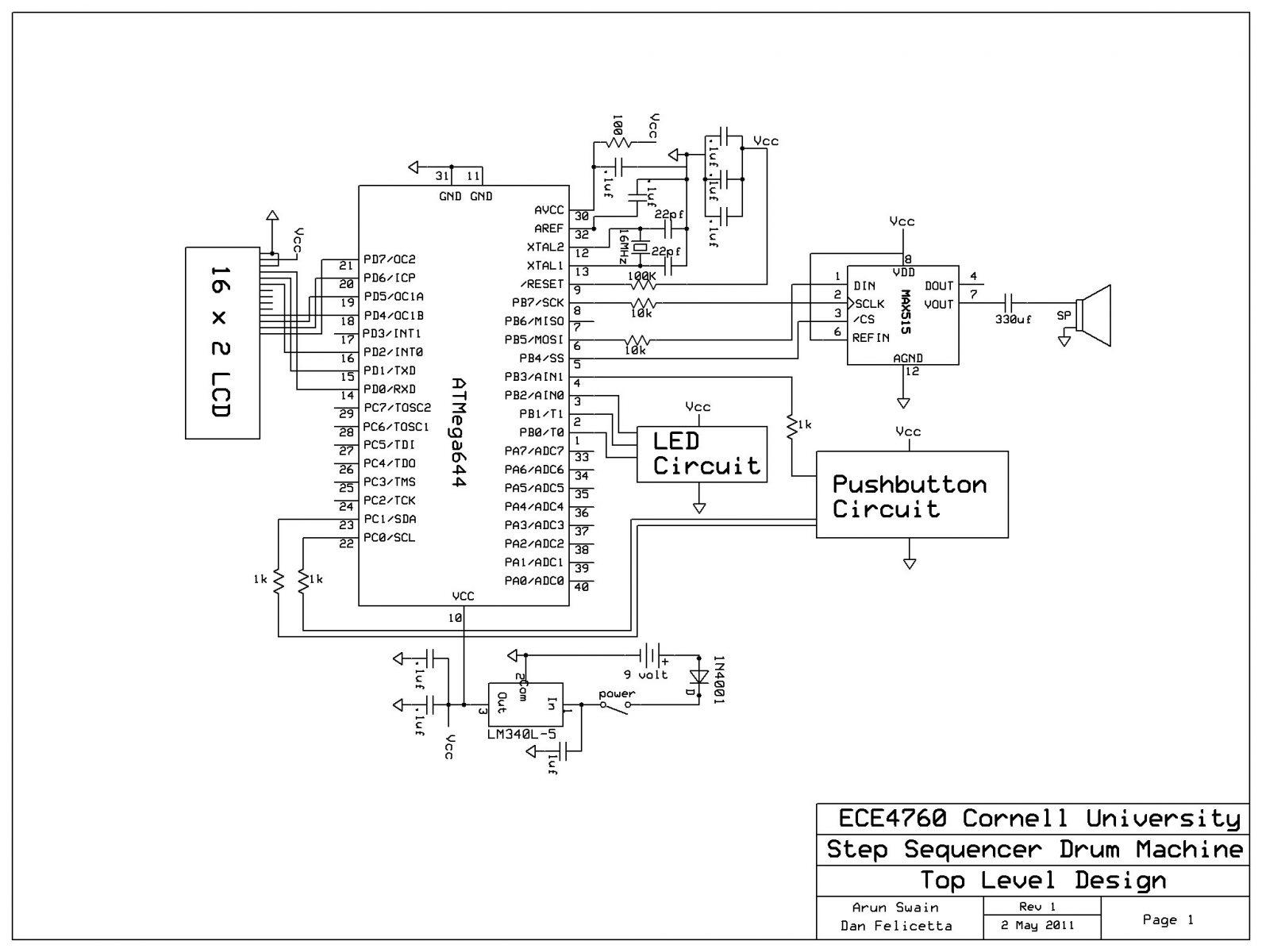 Step Sequencer Drum Machine schematic - Use Arduino for