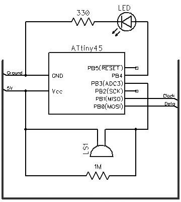 Turning PC On with a Knock Using ATtiny45 and a Piezoelectric Sensor diagram