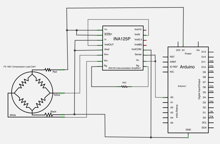 Working with a Load Cell and an Arduino schematic