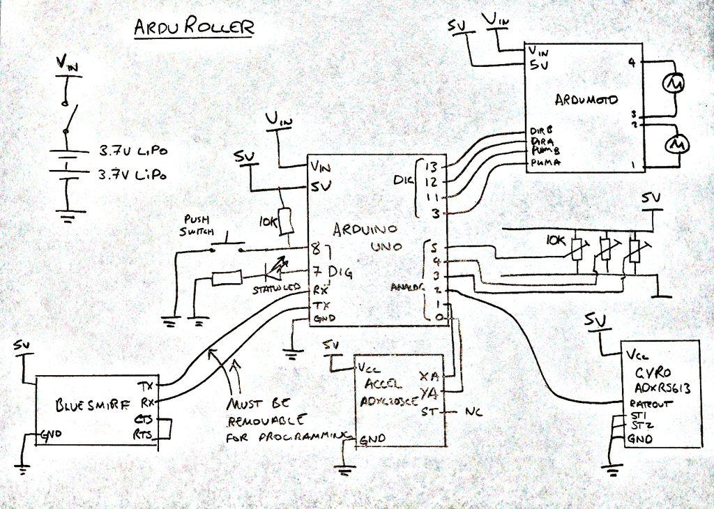 ArduRoller balance bot schematic