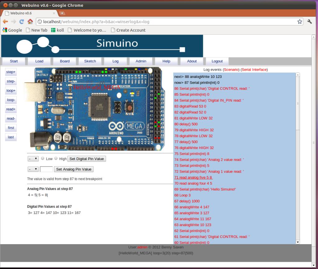 Simuino Arduino Simulator Screenshot