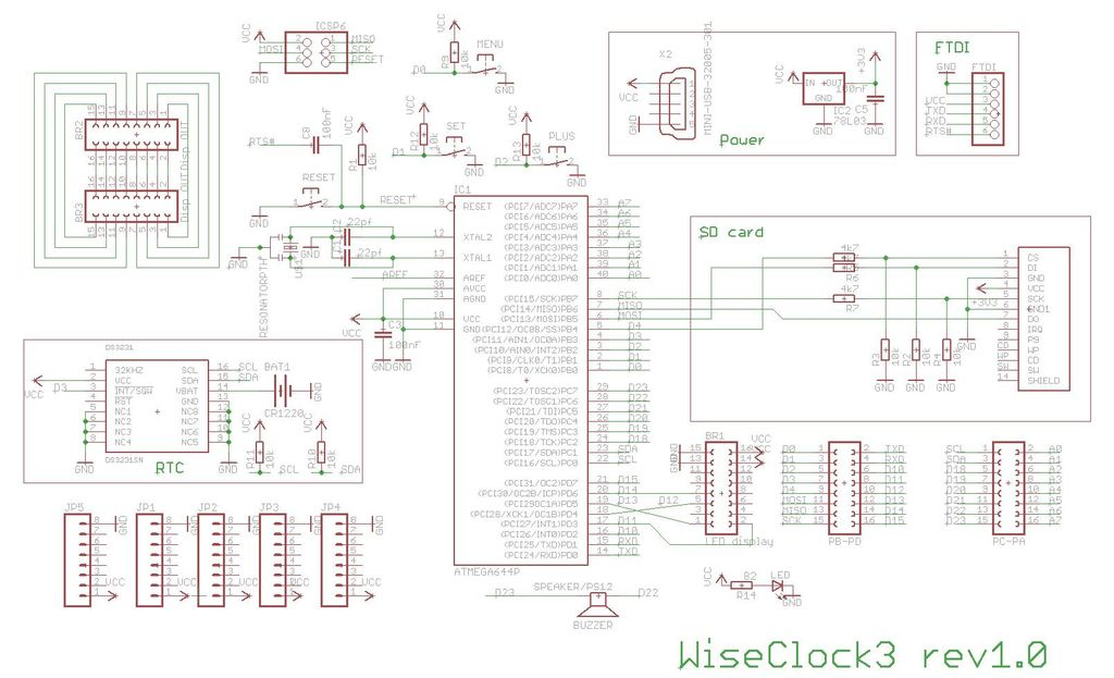 Wise Clock 3 - Arduino-based geeky alarm clock schematic