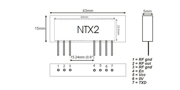 Linking an Arduino to a Radiometrix NTX2B Transmitter