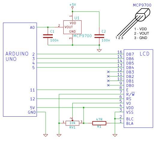 Arduino LCD Thermometer schemetic