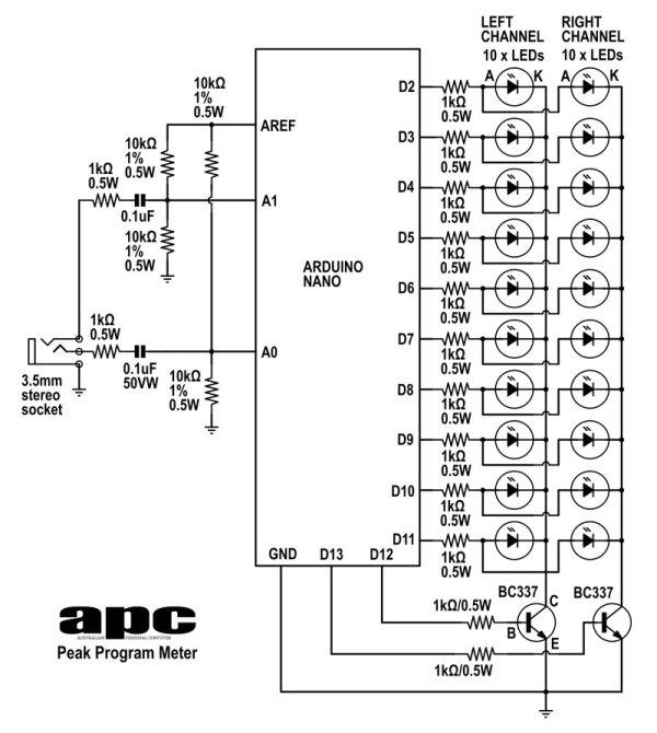 Arduino project: Stereo Peak Program Meter using arduino -Use