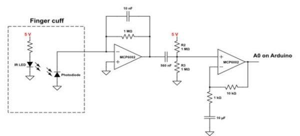 DIY Arduino Pulse Sensor Schemetic