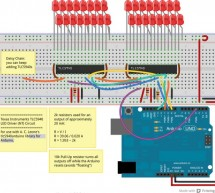 Extending PWM output pins with a Texas Instruments TLC5940 LED driver using arduino