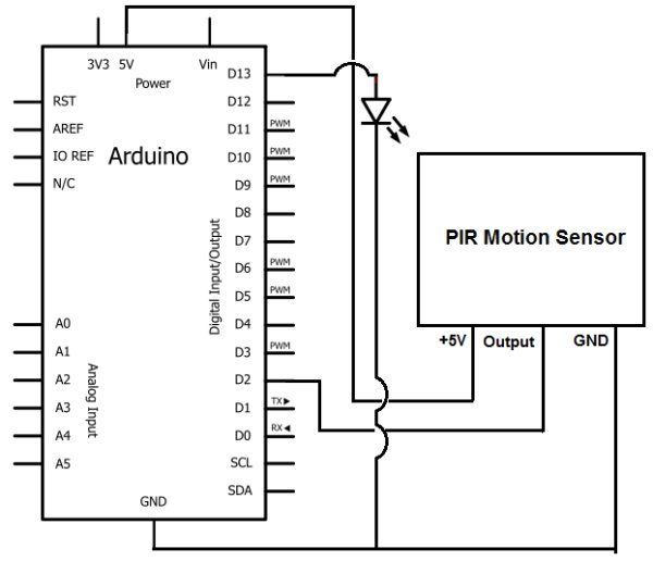 How to Build a Motion Sensor Light Circuit with an Arduino schemetic