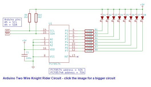 Two Wire Arduino Knight Rider Use Arduino For Projects