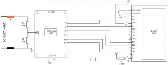 Arduino Digital Voltmeter 0V to 30V Schematic