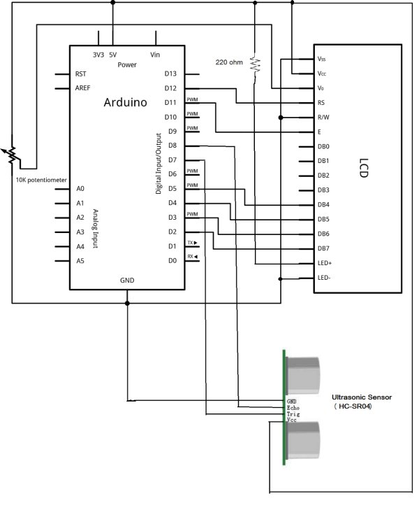 Arduino Project  1 Make an Ultrasonic Distance Calculator Schematic