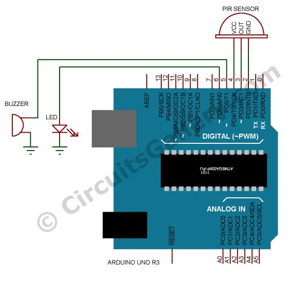 Build Arduino Based Home Security System Using PIR Motion Sensor Schematic