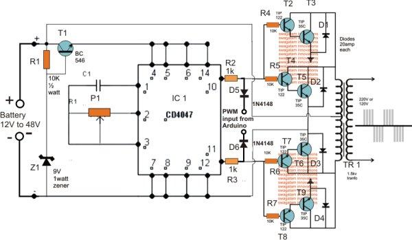 Sinewave Inverter Circuit Using Arduino Schematic