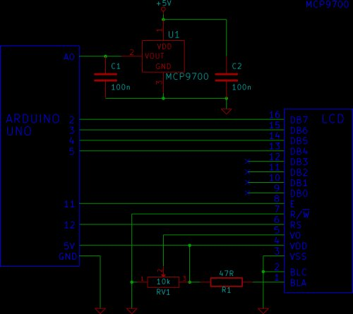 Tutorial 14 Arduino LCD Thermometer Schematic