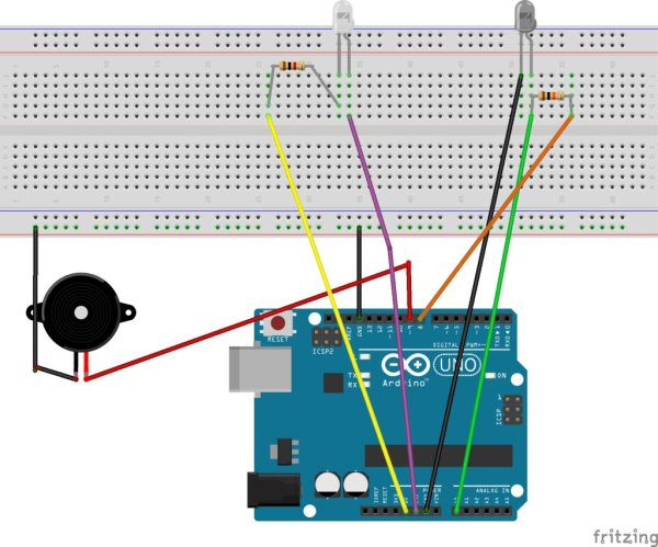 ARDUINO Burglar Alarm Using Infrared Emitter Detector pair