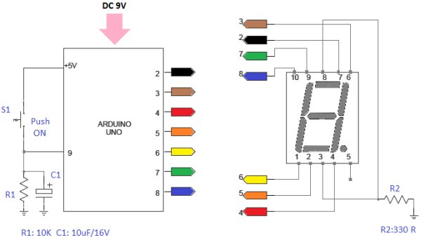 Arduino 7 Segment LED Display and Counter – Tutorial #8 Schematic