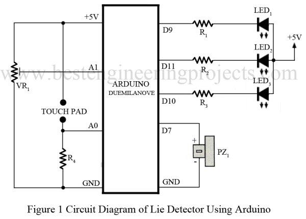 Arduino Based Lie Detector Schematic