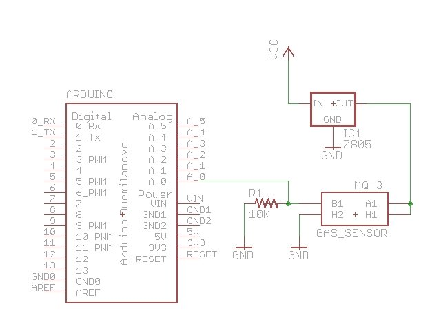 Arduino Breathalyzer Calibrating the MQ-3 Alcohol Sensor Schematic