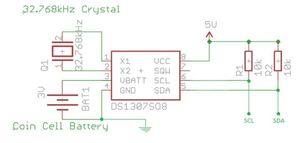 Arduino DS1307 Clock Schematic