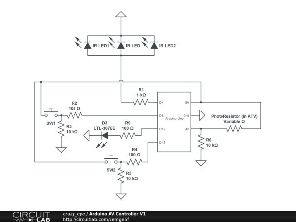 Arduino Event-Driven Universal AV Remote Schematic