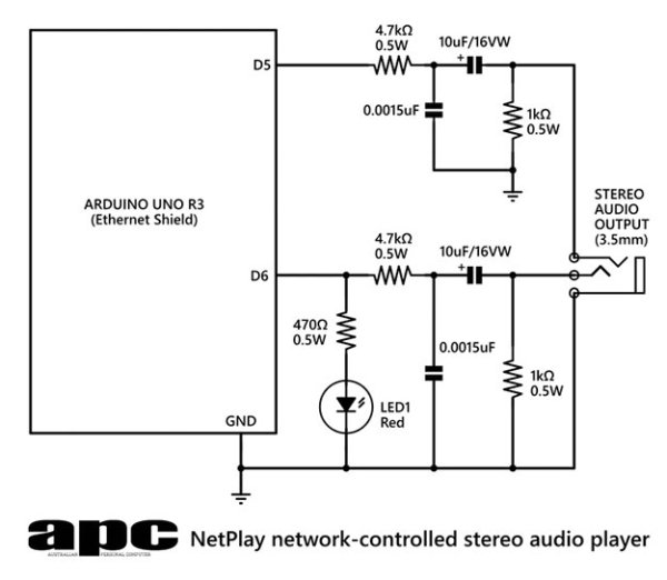Arduino Project 6 Web-controlled music player Schematic
