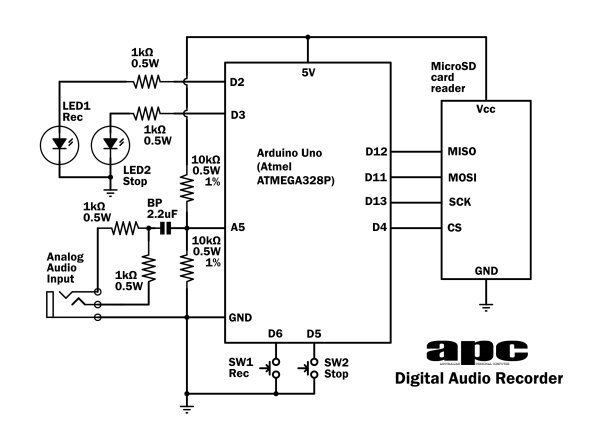 Arduino Projects Digital Audio Recorder Schematic