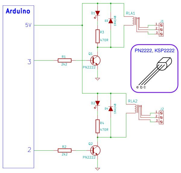 Arduino Tiny Relay Shield Project Schematic