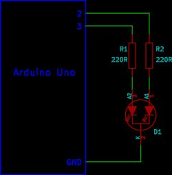 Arduino Tri-colour LED Flasher Circuit Schematic