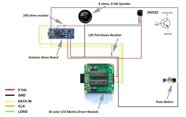 Arduino based Bi-color LED Matrix Flappy Bird Game Schematic