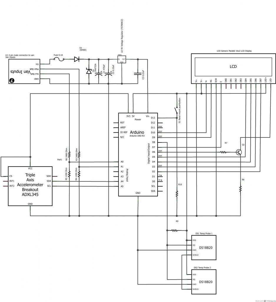Arduino powered voltmeter and temp gauge Schematic