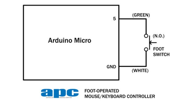 Arduino project USB foot-operated mouse switch Schematic