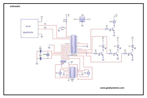 Bluetooth Controlled Robot Schematic