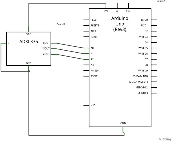 Connecting the ADXL337 to the Arduino Schematic