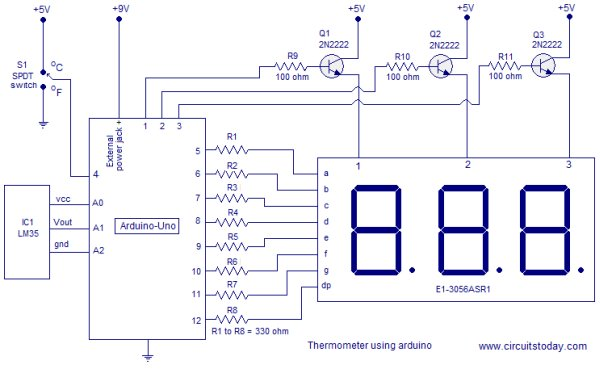 Digital thermometer using arduino Schematic