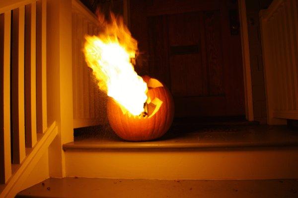 Flamethrowing Jack-O'-Lantern