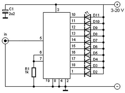 Midi VU meter, LM3914, Arduino, PWM Schematic