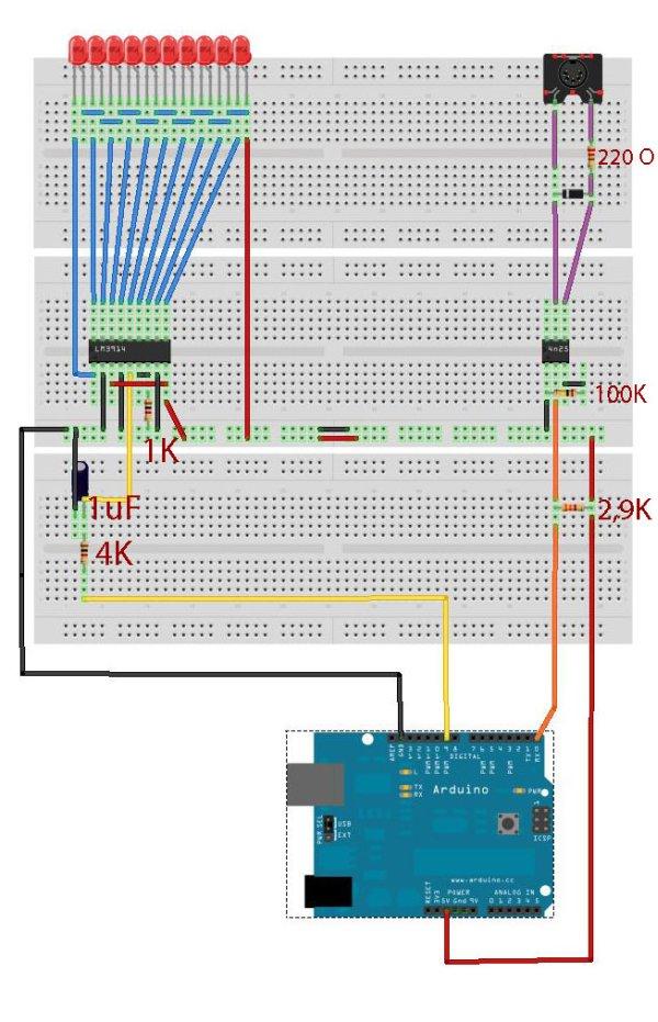 Midi VU meter, LM3914, Arduino, PWM