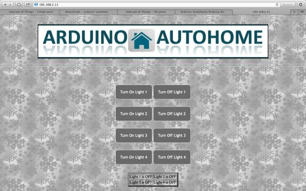 Open Source Home Automation Project using Arduino UNO Ethernet Shield